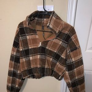 Crop plaid sweater
